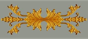Орнамент года сбора винограда покрытого золотом флористического Стоковые Фотографии RF