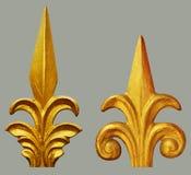 Орнамент года сбора винограда покрытого золотом флористического стоковое изображение
