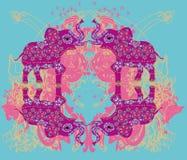 Орнамент год сбора винограда индийский с слоном Стоковое фото RF