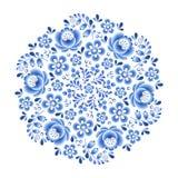 Орнамент голубого фарфора цветков флористического русского красивый фольклорный Стоковая Фотография