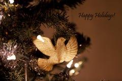 Орнамент голубя с счастливым знаком праздников Стоковые Изображения RF