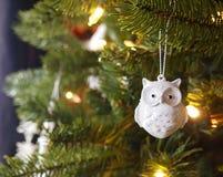 Орнамент дерева сыча рождества Sparkly Стоковое Фото