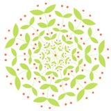 Орнамент завода вектора круглый с красными ягодами Стоковое Изображение RF