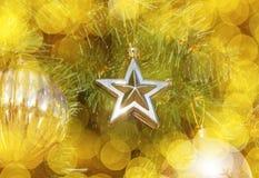 Орнамент звезды на рождественской елке Стоковые Фото