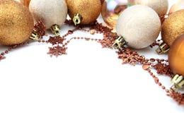 орнамент золота рождества граници Стоковое Фото