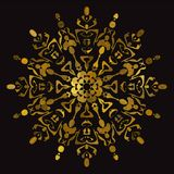 Орнамент золотых ювелирных изделий круговой на черных предпосылках бесплатная иллюстрация