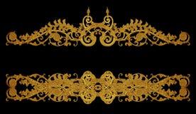 Орнамент золота покрыл винтажный флористический, викторианский стиль Стоковые Фото
