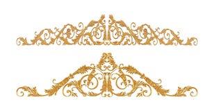 Орнамент золота покрыл винтажный флористический, викторианский стиль Стоковое Фото