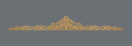 Орнамент золота покрыл винтажный флористический, викторианский стиль Стоковое Изображение