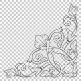 Орнамент изолята угловой в стиле барокко Стоковые Изображения