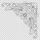 Орнамент изолята угловой в стиле барокко Стоковое Изображение