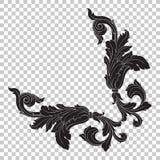 Орнамент изолята угловой в стиле барокко Стоковые Фото