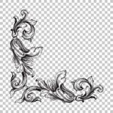 Орнамент изолята угловой в стиле барокко Стоковое Изображение RF
