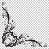 Орнамент изолята угловой в стиле барокко Стоковые Изображения RF