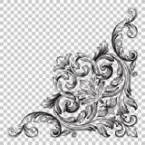 Орнамент изолята угловой в стиле барокко Стоковое фото RF