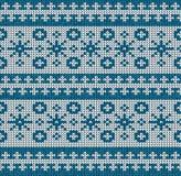 Орнамент картины зимы безшовный на текстуре связанной шерстями стоковые фотографии rf