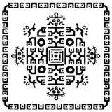 Орнамент квадрата геометрический этнический племенной с рамкой, границей иллюстрация вектора