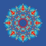 Орнамент красочной мандалы-chakra похожий на цветк восточный в стиле tibetian-цвета на темной предпосылке иллюстрация штока