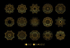 орнамент круга золотистый Комплект вектора винтажных орнаментов Стоковые Изображения
