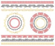 Chinese traditional seamless ornaments. Set of  borders and frames. stock photo