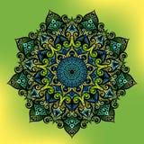 Орнамент мандалы геометрический круглый, племенной этнический арабский индийский мотив, 8 указал круговой абстрактный цветочный у Стоковое Фото