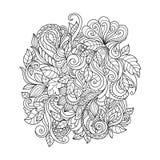 Орнамент нарисованный рукой с цветочным узором Стоковые Фотографии RF