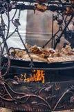 Орнамент лозы бронзовый на металле, лагерном костере Стоковые Изображения RF