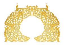 Орнамент покрытого золотом винтажного флористического, тайского стиля искусства Стоковые Изображения RF