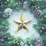 Орнамент рождества с ветвью сосны, для концепций рождества Стоковые Изображения