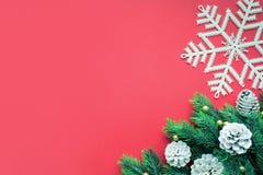 Орнамент рождества с елью, ветвью сосны на красной предпосылке Стоковое Изображение RF