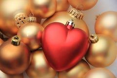 Орнамент рождества красного сердца форменный Стоковая Фотография