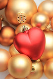 Орнамент рождества красного сердца форменный Стоковые Изображения