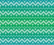 Орнамент связанный зеленым цветом скандинавский безшовный Стоковое Фото