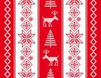 Орнамент с оленями звезды абстрактной картины конструкции украшения рождества предпосылки темной красные белые Стоковое Фото