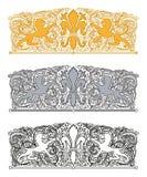 Орнамент с fleur-de-lis и heraldic львами Стоковое фото RF
