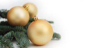 Орнамент украшения безделушки рождественской елки золота при изолированные ветви ели знамена Стоковые Изображения