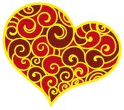Орнамент украшения сердца флористический Стоковое Изображение