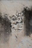 Орнамент флористического букета на надгробной плите Стоковая Фотография