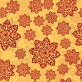 Орнамент цвета хны мандалы на желтой предпосылке Бесконечная плитка для восточных ковров, шалей, тканей, ткани Стоковые Фотографии RF