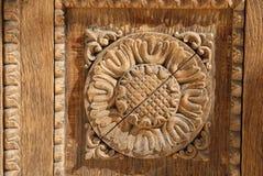 орнамент цветка деревянный Стоковое фото RF