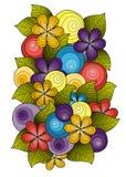 Орнамент цветка, дизайн шаблона Флористическая мандала Вручите вычерченную картину чернил сделанную трассировкой от эскиза Стоковая Фотография RF