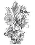 Орнамент цветка иллюстрации вектора черно-белый стоковое фото