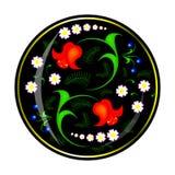 Орнамент цветков в черном круге Стоковое Изображение RF