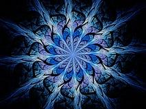 Орнамент цветного стекла сини накаляя волшебный Стоковая Фотография