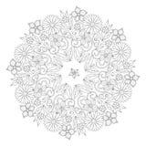 Орнамент Doodle флористический круглый в черно-белом Страница для книжка-раскраски: расслабляющая работа для детей и взрослых Zen Стоковая Фотография