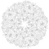 Орнамент Doodle флористический круглый в черно-белом Страница для книжка-раскраски: расслабляющая работа для детей и взрослых Zen Стоковое Изображение