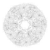 Орнамент Doodle флористический круглый в черно-белом Страница для книжка-раскраски: расслабляющая работа для детей и взрослых Zen Стоковая Фотография RF