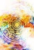 Орнамент Filigrane флористический с формой мандалы на космическом backgrond, коллаже компьютера иллюстрация вектора