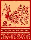 орнамент firebird флористический традиционный Стоковые Фотографии RF