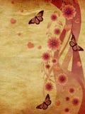 Орнамент Grunge розовый с цветками иллюстрация вектора